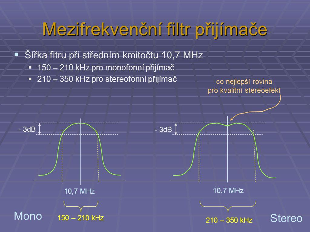 Mezifrekvenční filtr přijímače  Šířka fitru při středním kmitočtu 10,7 MHz  150 – 210 kHz pro monofonní přijímač  210 – 350 kHz pro stereofonní při