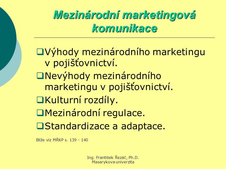 Ing. František Řezáč, Ph.D. Masarykova univerzita Mezinárodní marketingová komunikace  Výhody mezinárodního marketingu v pojišťovnictví.  Nevýhody m