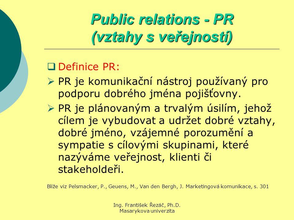 Ing. František Řezáč, Ph.D. Masarykova univerzita Public relations - PR (vztahy s veřejností)  Definice PR:  PR je komunikační nástroj používaný pro
