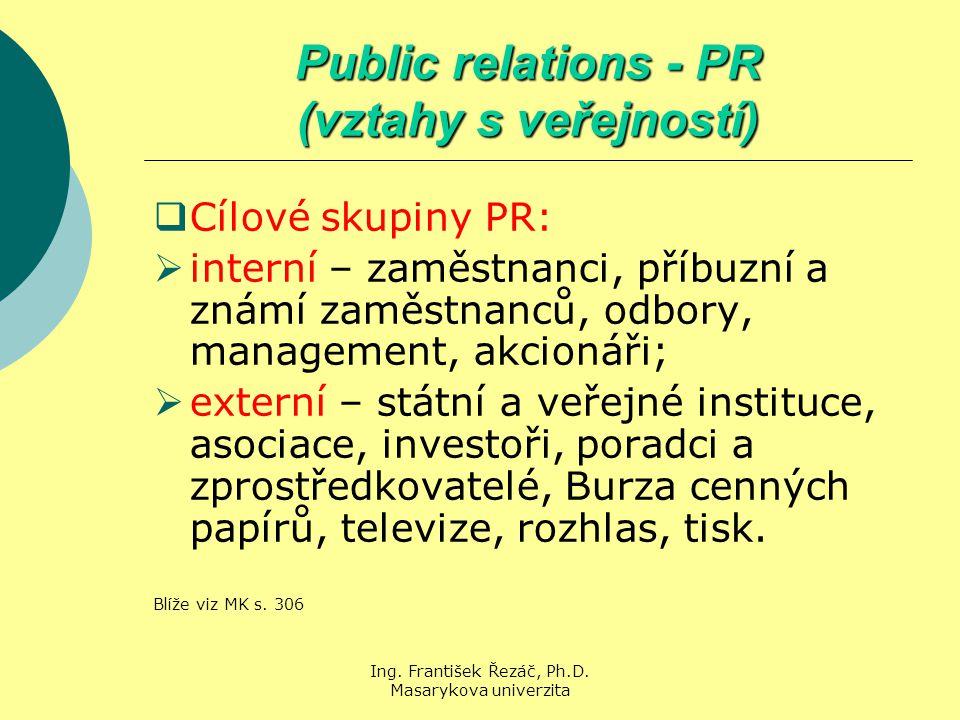 Ing. František Řezáč, Ph.D. Masarykova univerzita Public relations - PR (vztahy s veřejností)  Cílové skupiny PR:  interní – zaměstnanci, příbuzní a