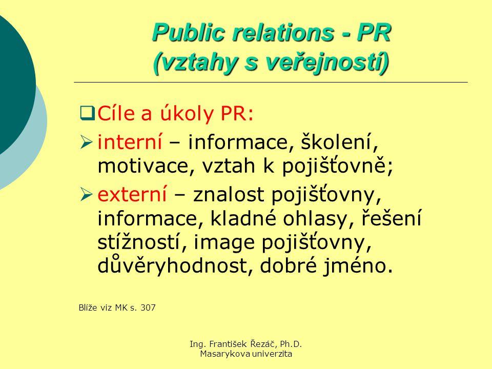 Ing. František Řezáč, Ph.D. Masarykova univerzita Public relations - PR (vztahy s veřejností)  Cíle a úkoly PR:  interní – informace, školení, motiv