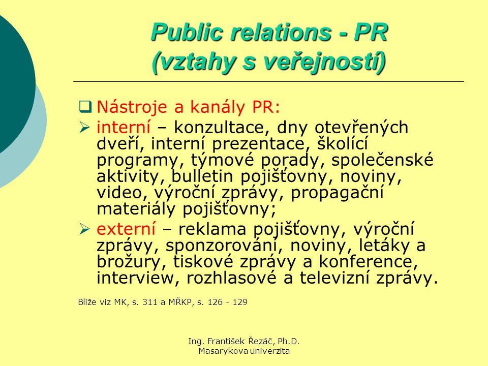 Ing. František Řezáč, Ph.D. Masarykova univerzita Public relations - PR (vztahy s veřejností)  Nástroje a kanály PR:  interní – konzultace, dny otev