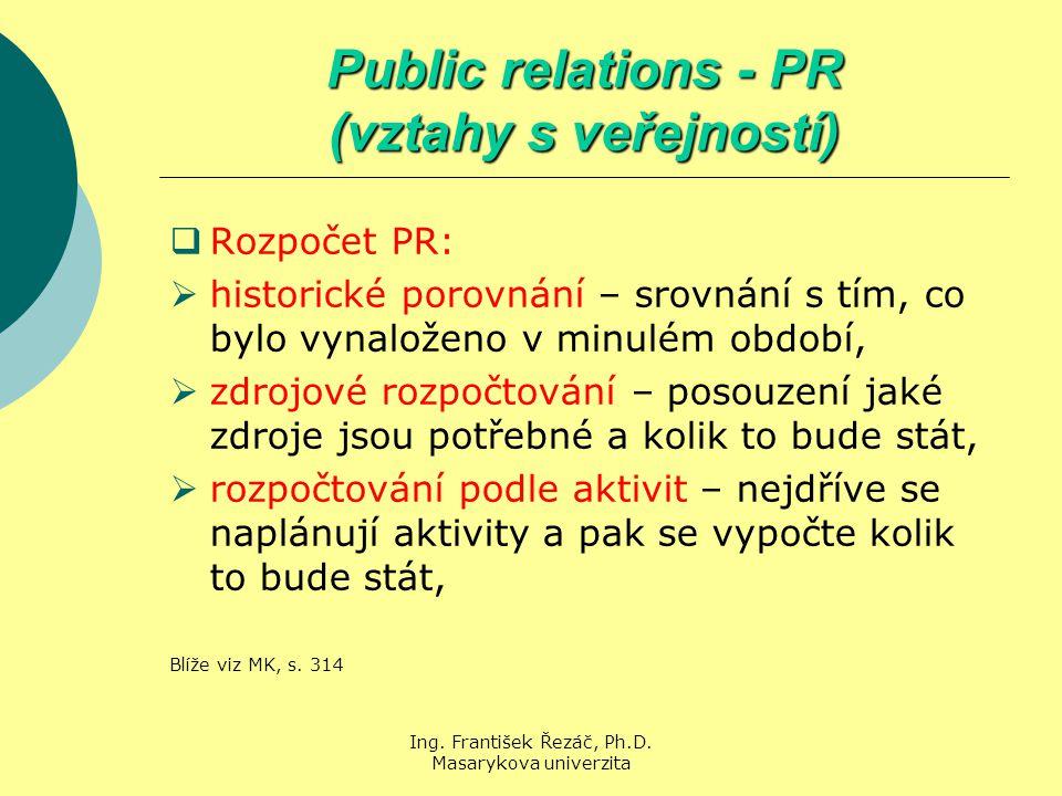 Ing. František Řezáč, Ph.D. Masarykova univerzita Public relations - PR (vztahy s veřejností)  Rozpočet PR:  historické porovnání – srovnání s tím,