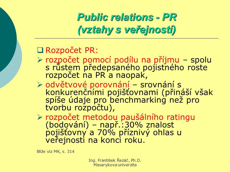Ing. František Řezáč, Ph.D. Masarykova univerzita Public relations - PR (vztahy s veřejností)  Rozpočet PR:  rozpočet pomocí podílu na příjmu – spol