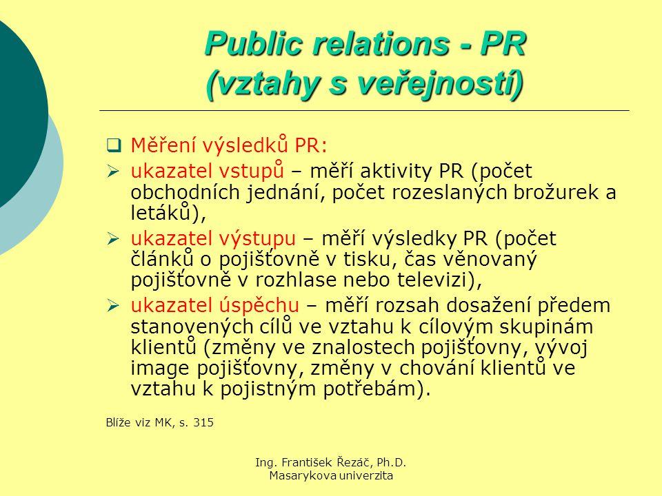 Ing. František Řezáč, Ph.D. Masarykova univerzita Public relations - PR (vztahy s veřejností)  Měření výsledků PR:  ukazatel vstupů – měří aktivity