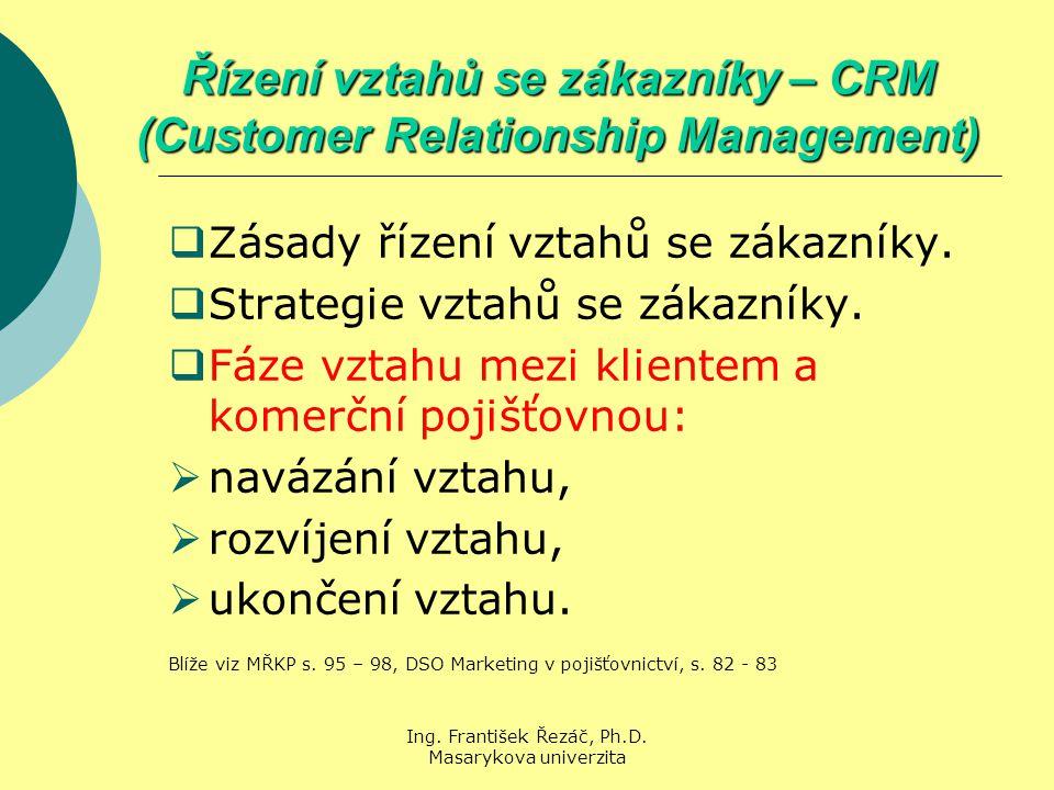 Ing. František Řezáč, Ph.D. Masarykova univerzita Řízení vztahů se zákazníky – CRM (Customer Relationship Management)  Zásady řízení vztahů se zákazn
