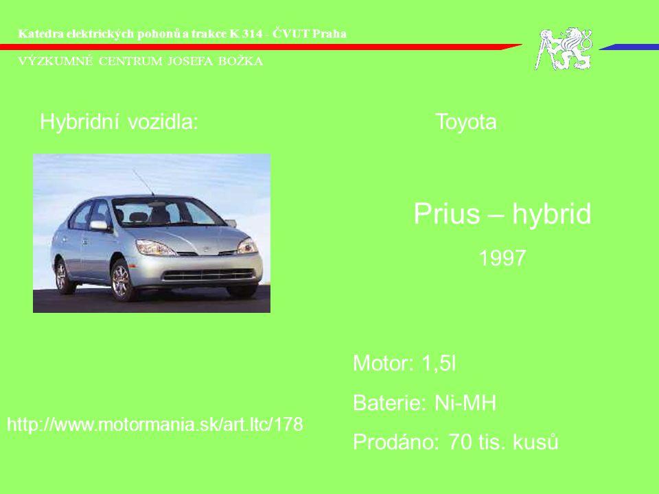 VÝZKUMNÉ CENTRUM JOSEFA BOŽKA Katedra elektrických pohonů a trakce K 314 - ČVUT Praha Hybridní vozidla:Toyota Motor: 1,5l Baterie: Ni-MH Prodáno: 70 t