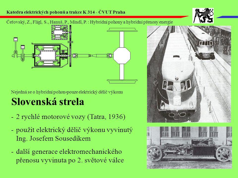 Slovenská strela -2 rychlé motorové vozy (Tatra, 1936) -použit elektrický dělič výkonu vyvinutý Ing.