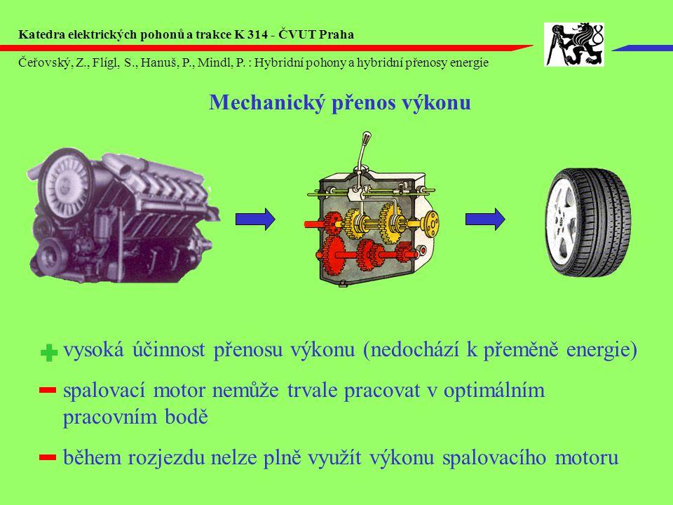Mechanický přenos výkonu vysoká účinnost přenosu výkonu (nedochází k přeměně energie) spalovací motor nemůže trvale pracovat v optimálním pracovním bodě během rozjezdu nelze plně využít výkonu spalovacího motoru Čeřovský, Z., Flígl, S., Hanuš, P., Mindl, P.