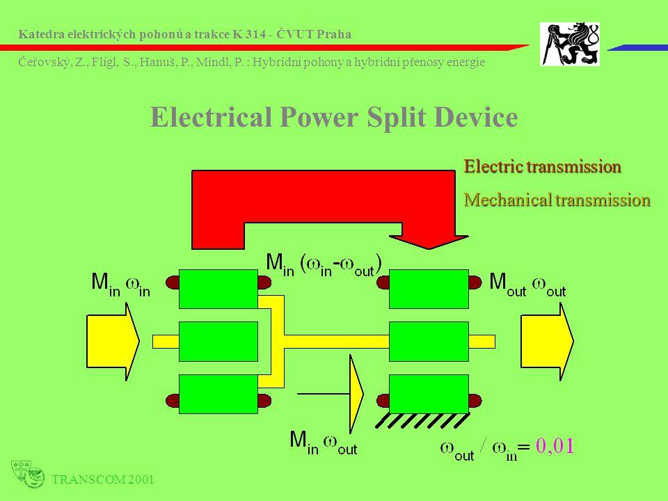 TRANSCOM 2001 Electrical Power Split Device Electric transmission Mechanical transmission Katedra elektrických pohonů a trakce K 314 - ČVUT Praha Čeřovský, Z., Flígl, S., Hanuš, P., Mindl, P.