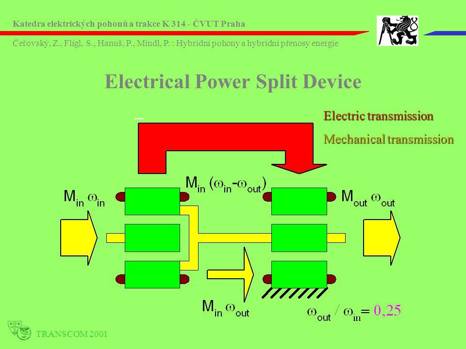 TRANSCOM 2001 Electric transmission Mechanical transmission Electrical Power Split Device Katedra elektrických pohonů a trakce K 314 - ČVUT Praha Čeřo