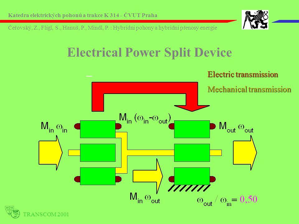 Electric transmission Mechanical transmission Electrical Power Split Device TRANSCOM 2001 Katedra elektrických pohonů a trakce K 314 - ČVUT Praha Čeřo