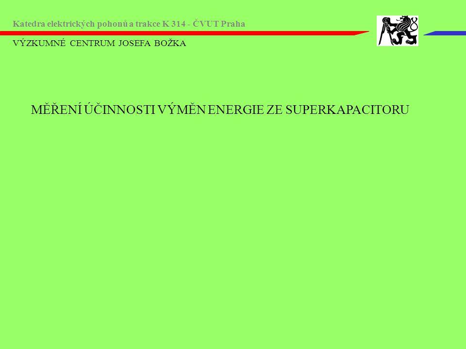 VÝZKUMNÉ CENTRUM JOSEFA BOŽKA Katedra elektrických pohonů a trakce K 314 - ČVUT Praha MĚŘENÍ ÚČINNOSTI VÝMĚN ENERGIE ZE SUPERKAPACITORU