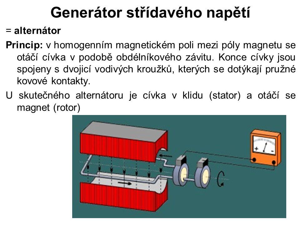 Generátor střídavého napětí = alternátor Princip: v homogenním magnetickém poli mezi póly magnetu se otáčí cívka v podobě obdélníkového závitu. Konce