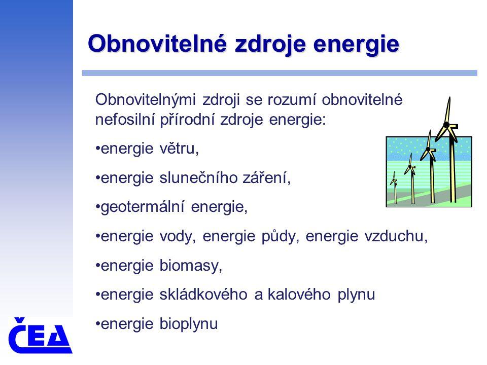 Obnovitelné zdroje energie Obnovitelnými zdroji se rozumí obnovitelné nefosilní přírodní zdroje energie: energie větru, energie slunečního záření, geotermální energie, energie vody, energie půdy, energie vzduchu, energie biomasy, energie skládkového a kalového plynu energie bioplynu