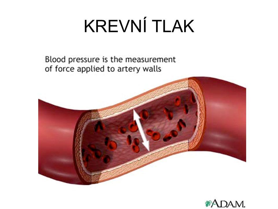 Tlak systolický – tlak měřený při stahu komor (systole): 100 – 160 mm Hg Tlak diastolický – tlak měřený při uvolnění komor (diastole) < 90 mm Hg