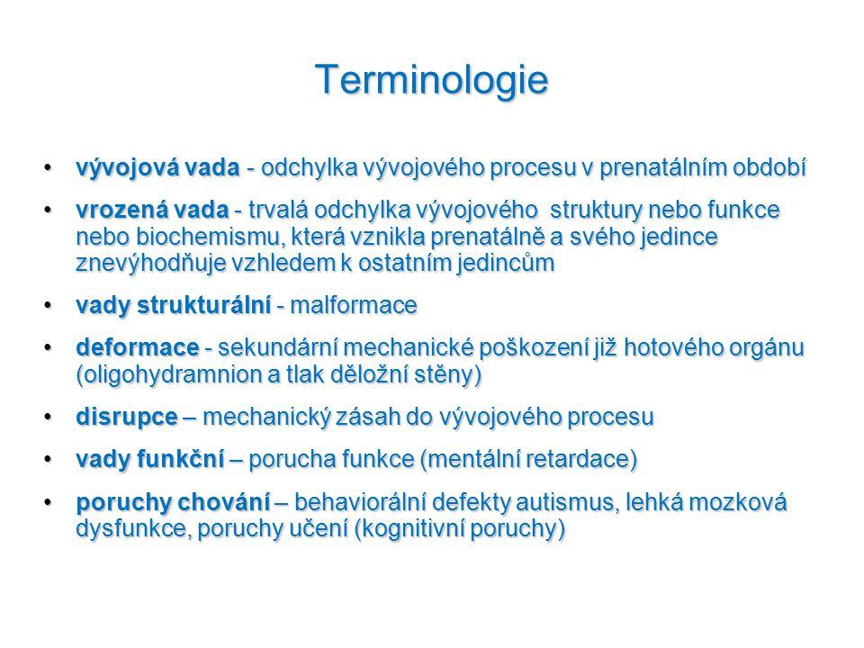 Terminologie vývojová vada - odchylka vývojového procesu v prenatálním obdobívývojová vada - odchylka vývojového procesu v prenatálním období vrozená