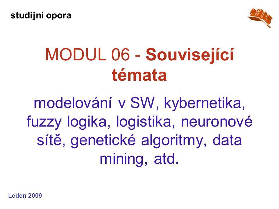 Leden 2009 MODUL 06 - Související témata modelování v SW, kybernetika, fuzzy logika, logistika, neuronové sítě, genetické algoritmy, data mining, atd.