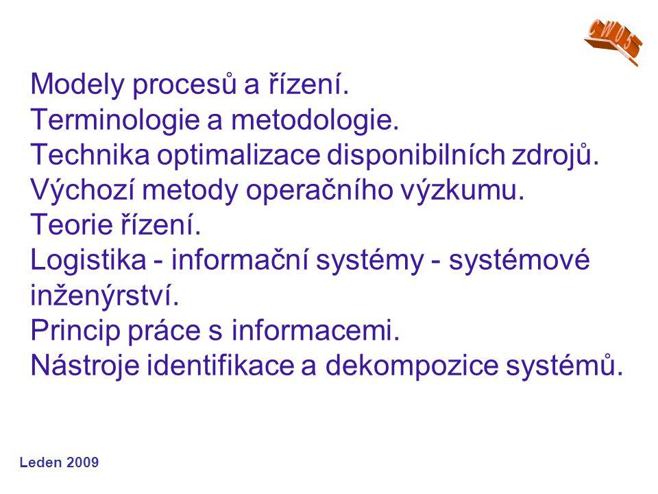 Leden 2009 Modely procesů a řízení. Terminologie a metodologie.