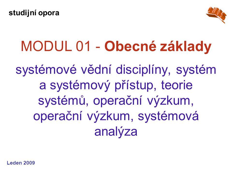 Leden 2009 MODUL 02 - Modelování simulace, modelování, modely a jejich sestavení, systémové modelování, optimalizační modelování, stochastické modely studijní opora