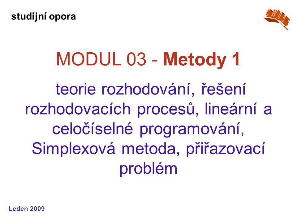 Leden 2009 MODUL 04 - Metody 2 distribuční a dopravní modely, teorie grafů, orientovaný graf, tok sítí, metody pro grafy, teorie her studijní opora