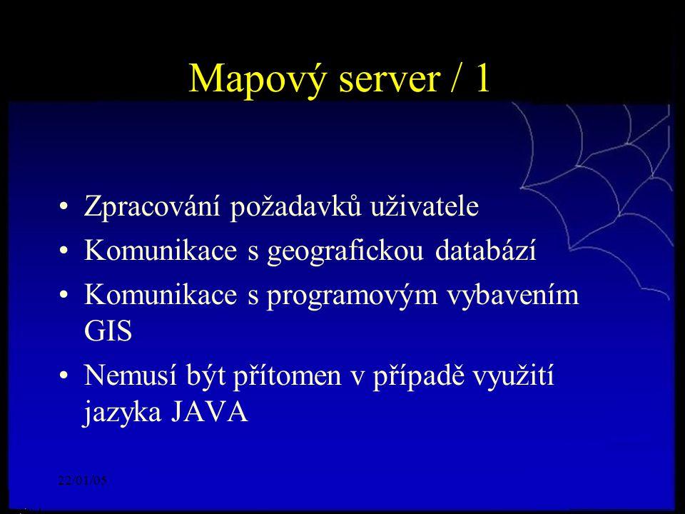 22/01/05 Mapový server / 1 Zpracování požadavků uživatele Komunikace s geografickou databází Komunikace s programovým vybavením GIS Nemusí být přítome