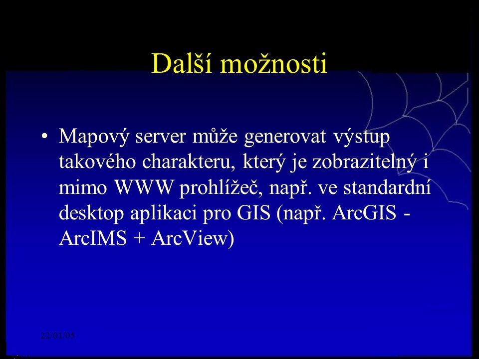 22/01/05 Další možnosti Mapový server může generovat výstup takového charakteru, který je zobrazitelný i mimo WWW prohlížeč, např.