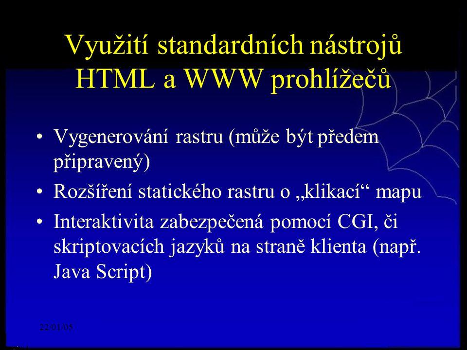 """22/01/05 Využití standardních nástrojů HTML a WWW prohlížečů Vygenerování rastru (může být předem připravený) Rozšíření statického rastru o """"klikací mapu Interaktivita zabezpečená pomocí CGI, či skriptovacích jazyků na straně klienta (např."""
