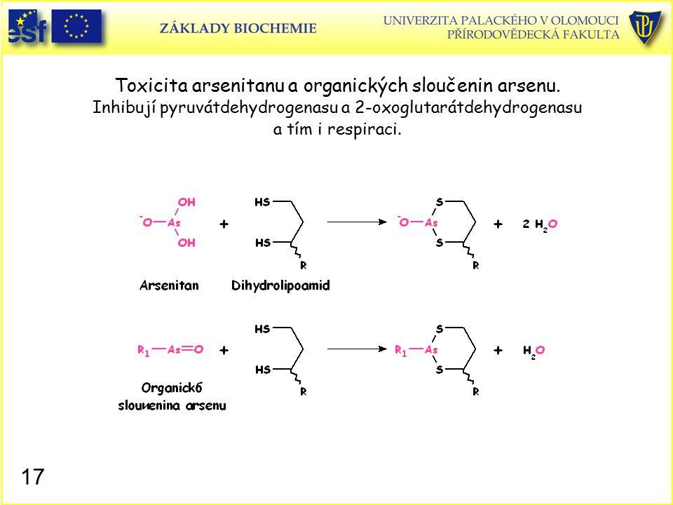Toxicita arsenitanu a organických sloučenin arsenu. Inhibují pyruvátdehydrogenasu a 2-oxoglutarátdehydrogenasu a tím i respiraci. 17