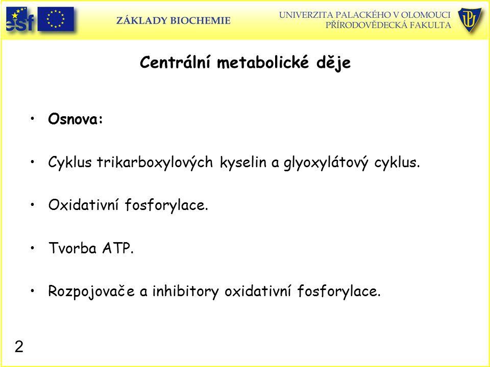 Osnova: Cyklus trikarboxylových kyselin a glyoxylátový cyklus. Oxidativní fosforylace. Tvorba ATP. Rozpojovače a inhibitory oxidativní fosforylace. 2