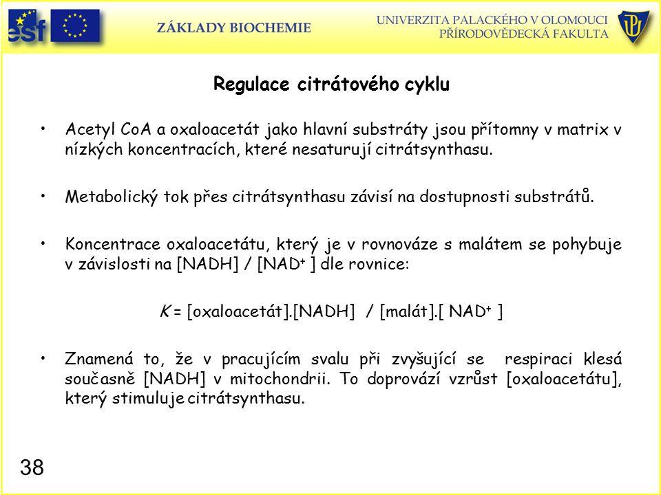 Regulace citrátového cyklu Acetyl CoA a oxaloacetát jako hlavní substráty jsou přítomny v matrix v nízkých koncentracích, které nesaturují citrátsynth