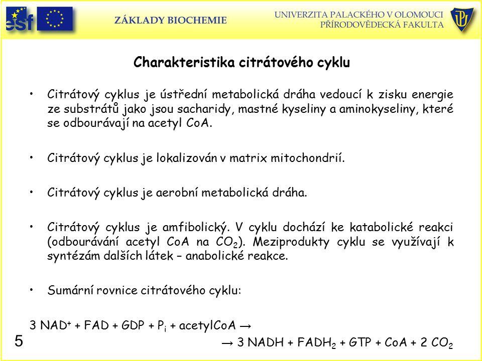 Charakteristika citrátového cyklu Citrátový cyklus je ústřední metabolická dráha vedoucí k zisku energie ze substrátů jako jsou sacharidy, mastné kyse
