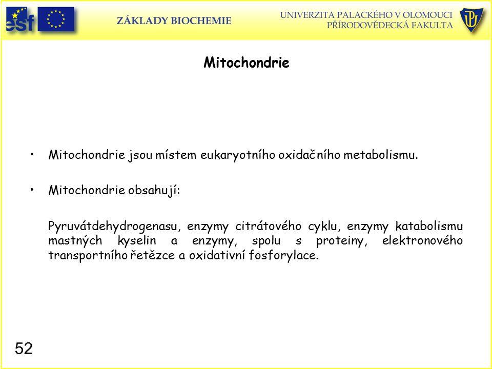 Mitochondrie Mitochondrie jsou místem eukaryotního oxidačního metabolismu. Mitochondrie obsahují: Pyruvátdehydrogenasu, enzymy citrátového cyklu, enzy