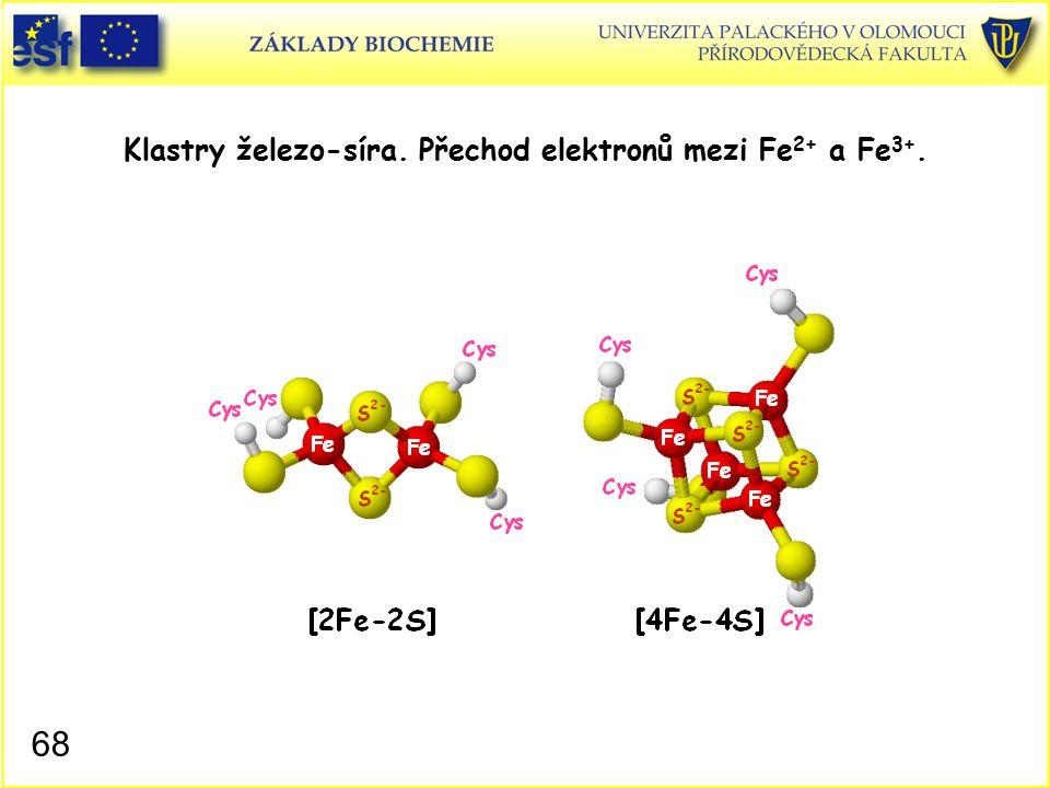 Klastry železo-síra. Přechod elektronů mezi Fe 2+ a Fe 3+. 68