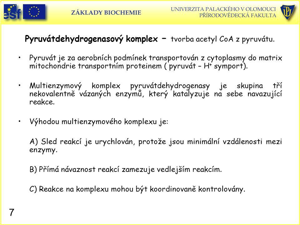 Složení pyruvátdehydrogenasového komplexu: Pyruvátdehydrogenasa (E 1 ) Dihydrolipoyltransacetylasa (E 2 ) Dihydrolipoyldehydrogenasa (E 3 ) Např.