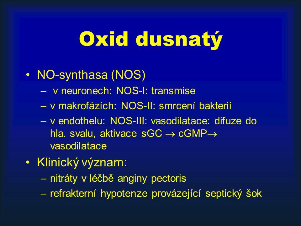 Oxid dusnatý NO-synthasa (NOS) – v neuronech: NOS-I: transmise –v makrofázích: NOS-II: smrcení bakterií –v endothelu: NOS-III: vasodilatace: difuze do hla.