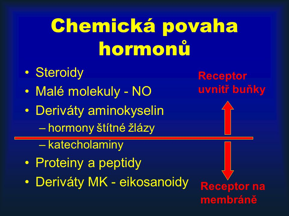 Závěrečné poznámky Syntetické a degradační dráhy hormonů –jejich poruchy jsou v pozadí endokrinních poruch (CAH, hypofunkční syndromy) –jejich znalost umožní interpretaci běžně stanovovaných laboratorních hodnot (C- peptid, UFC, U-vanilmandlová kyselina) –jsou místem zásahu běžně užívaných léků (NSAID, antidepresiva)
