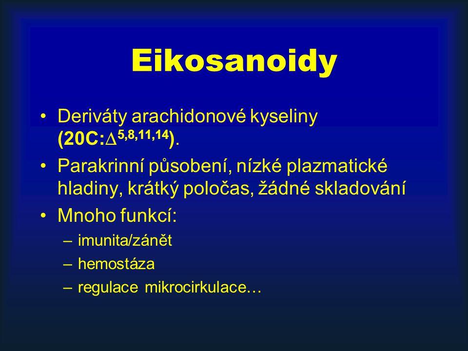 Eikosanoidy Deriváty arachidonové kyseliny (20C:  5,8,11,14 ). Parakrinní působení, nízké plazmatické hladiny, krátký poločas, žádné skladování Mnoho