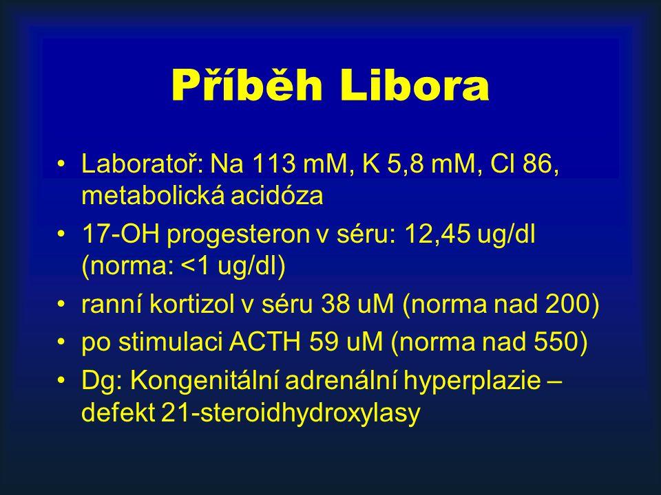 Příběh Libora Laboratoř: Na 113 mM, K 5,8 mM, Cl 86, metabolická acidóza 17-OH progesteron v séru: 12,45 ug/dl (norma: <1 ug/dl) ranní kortizol v séru 38 uM (norma nad 200) po stimulaci ACTH 59 uM (norma nad 550) Dg: Kongenitální adrenální hyperplazie – defekt 21-steroidhydroxylasy