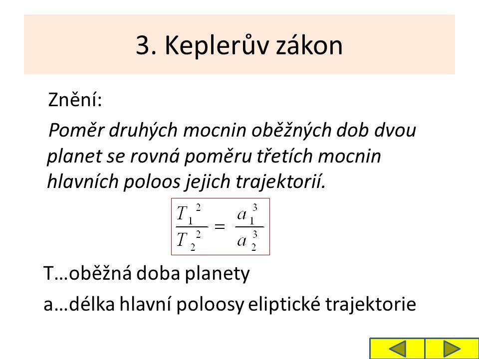 3. Keplerův zákon Znění: Poměr druhých mocnin oběžných dob dvou planet se rovná poměru třetích mocnin hlavních poloos jejich trajektorií. T…oběžná dob