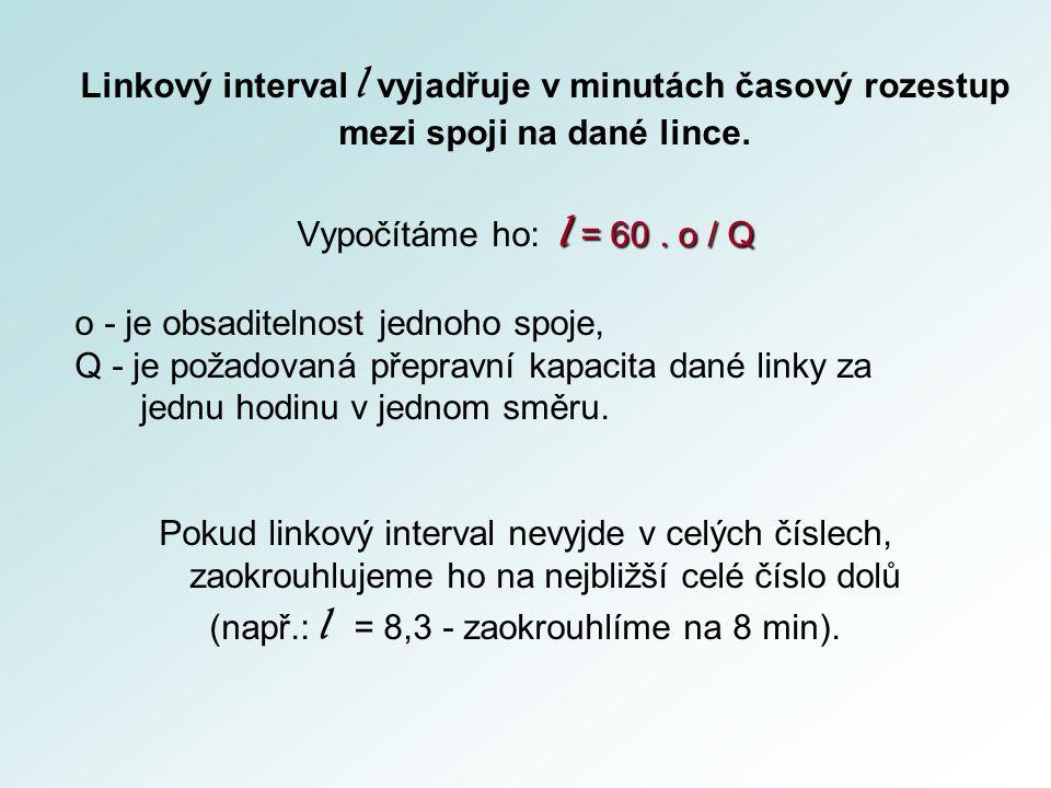 Linkový interval l vyjadřuje v minutách časový rozestup mezi spoji na dané lince. l = 60. o / Q Vypočítáme ho: l = 60. o / Q o - je obsaditelnost jedn
