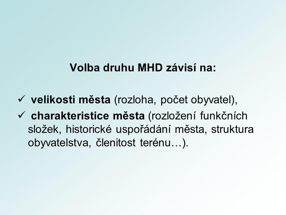 Volba druhu MHD závisí na: velikosti města (rozloha, počet obyvatel), charakteristice města (rozložení funkčních složek, historické uspořádání města, struktura obyvatelstva, členitost terénu…).
