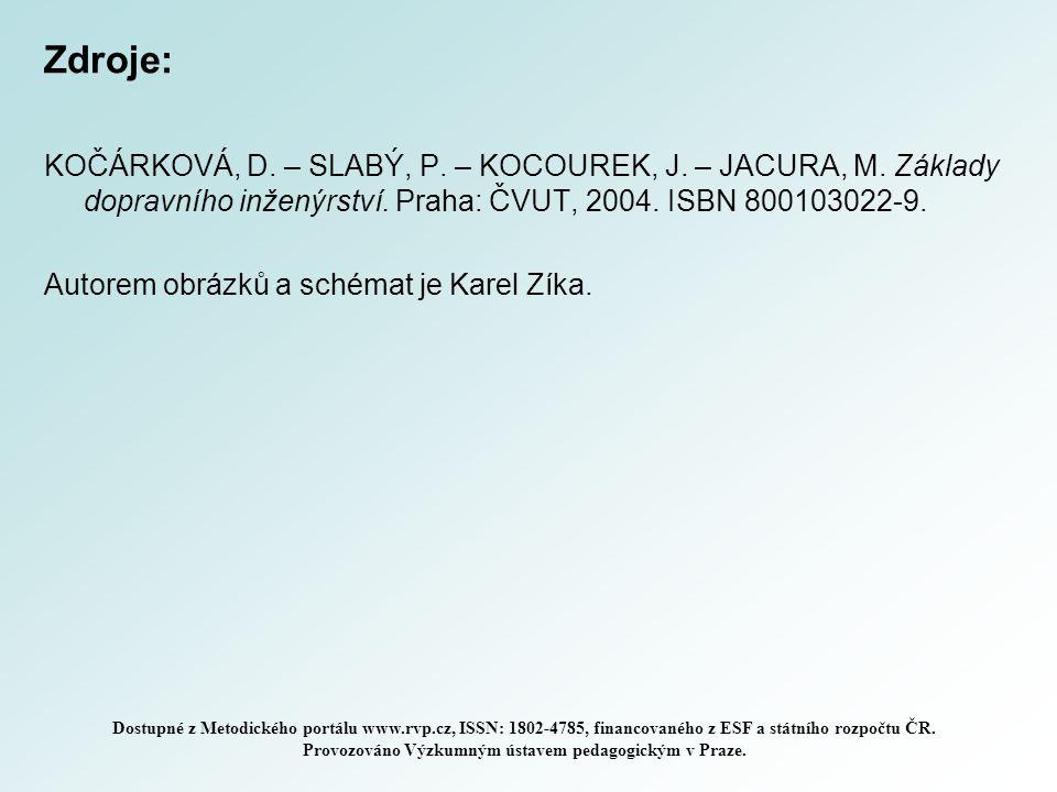 Zdroje: KOČÁRKOVÁ, D. – SLABÝ, P. – KOCOUREK, J. – JACURA, M. Základy dopravního inženýrství. Praha: ČVUT, 2004. ISBN 800103022-9. Autorem obrázků a s