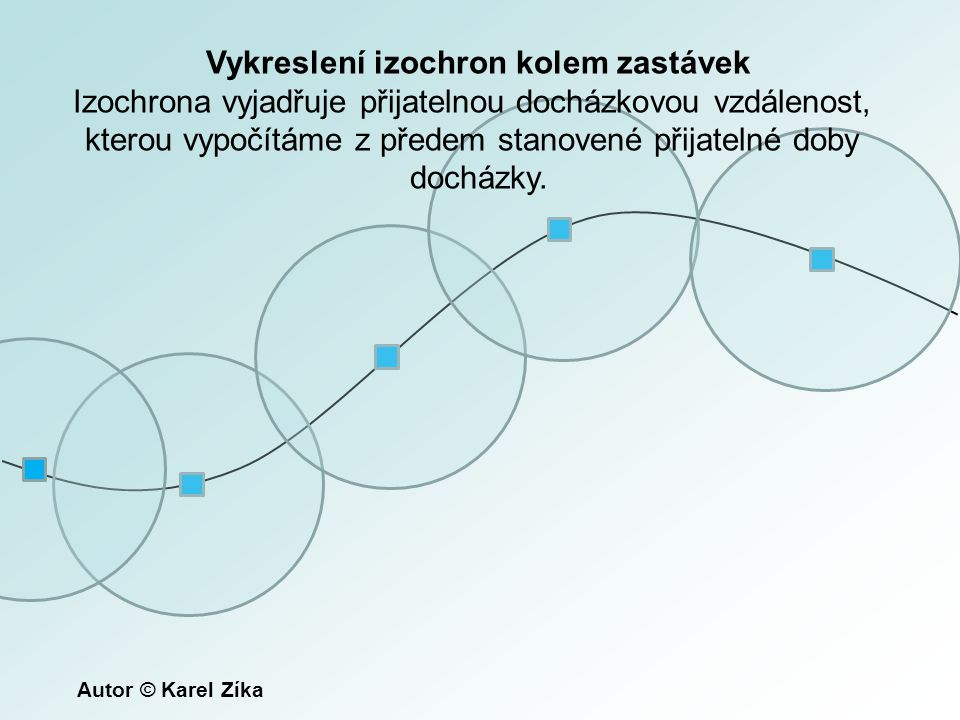 Vykreslení izochron kolem zastávek Izochrona vyjadřuje přijatelnou docházkovou vzdálenost, kterou vypočítáme z předem stanovené přijatelné doby docház