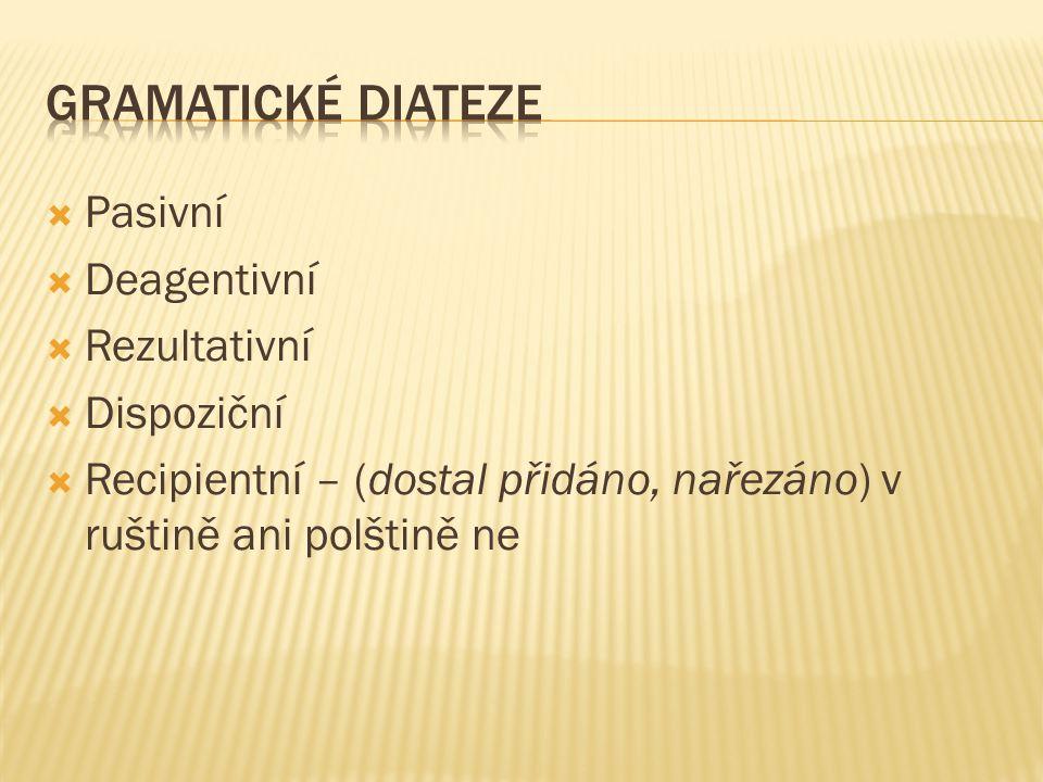  Pasivní  Deagentivní  Rezultativní  Dispoziční  Recipientní – (dostal přidáno, nařezáno) v ruštině ani polštině ne