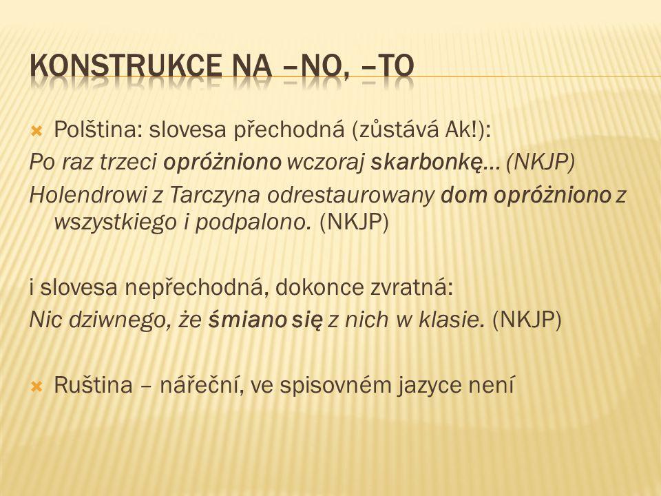  Polština: slovesa přechodná (zůstává Ak!): Po raz trzeci opróżniono wczoraj skarbonkę… (NKJP) Holendrowi z Tarczyna odrestaurowany dom opróżniono z wszystkiego i podpalono.