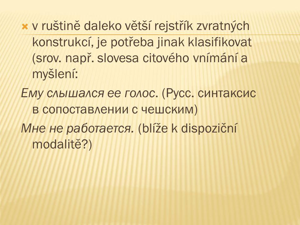  v ruštině daleko větší rejstřík zvratných konstrukcí, je potřeba jinak klasifikovat (srov. např. slovesa citového vnímání a myšlení: Ему слышался ее