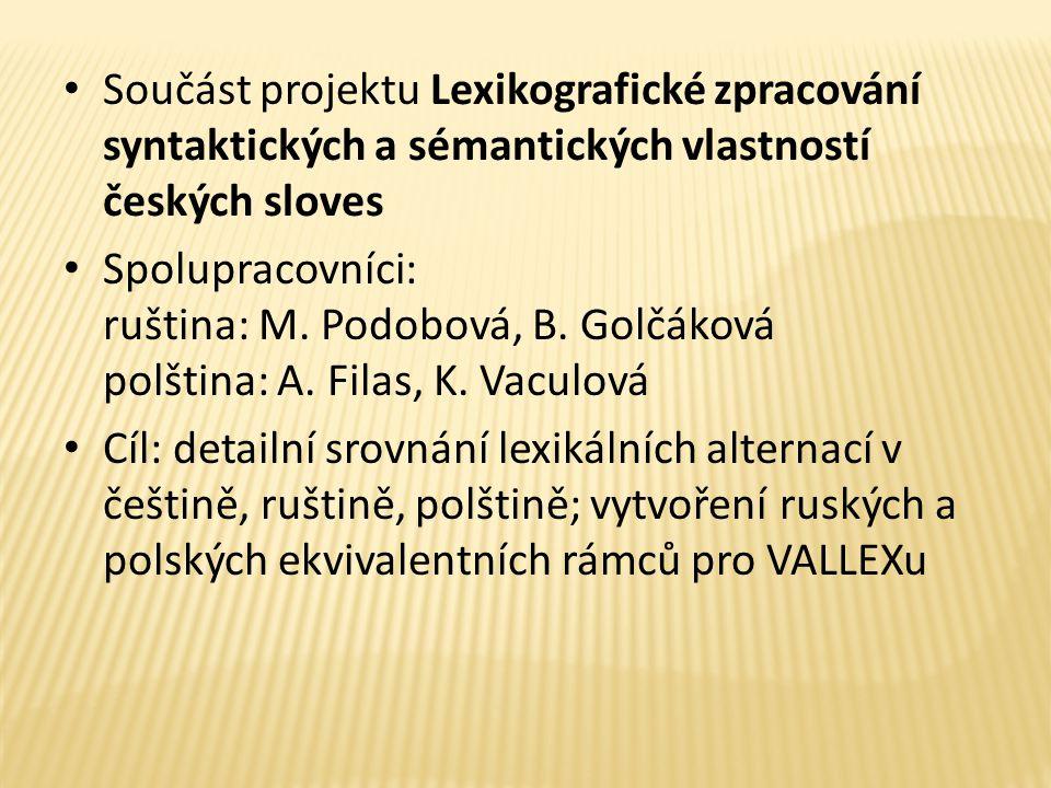 Součást projektu Lexikografické zpracování syntaktických a sémantických vlastností českých sloves Spolupracovníci: ruština: M.