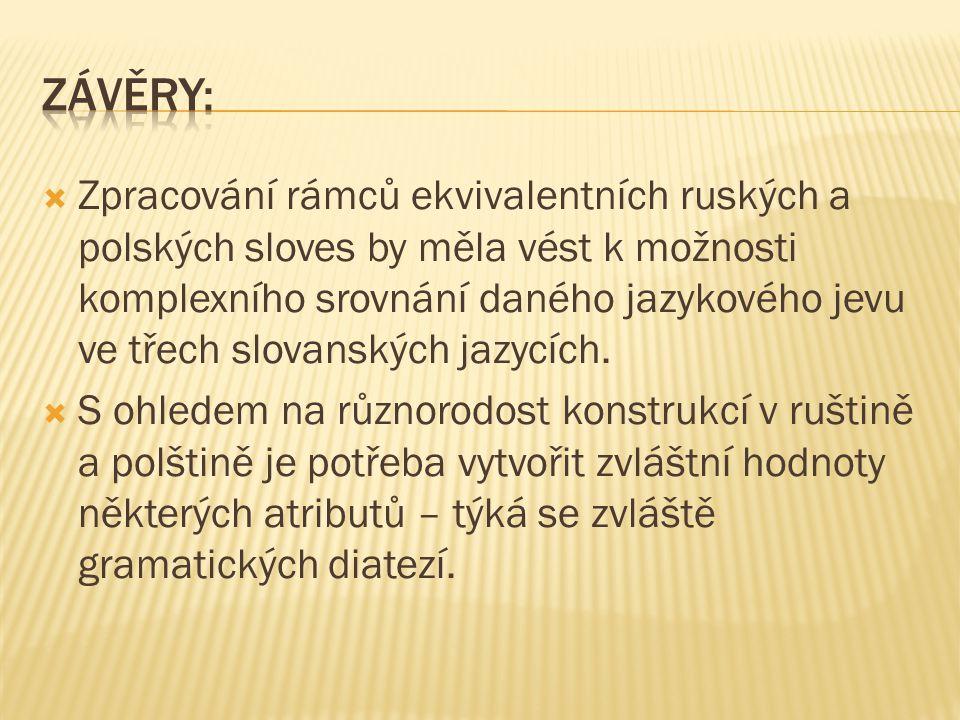  Zpracování rámců ekvivalentních ruských a polských sloves by měla vést k možnosti komplexního srovnání daného jazykového jevu ve třech slovanských j