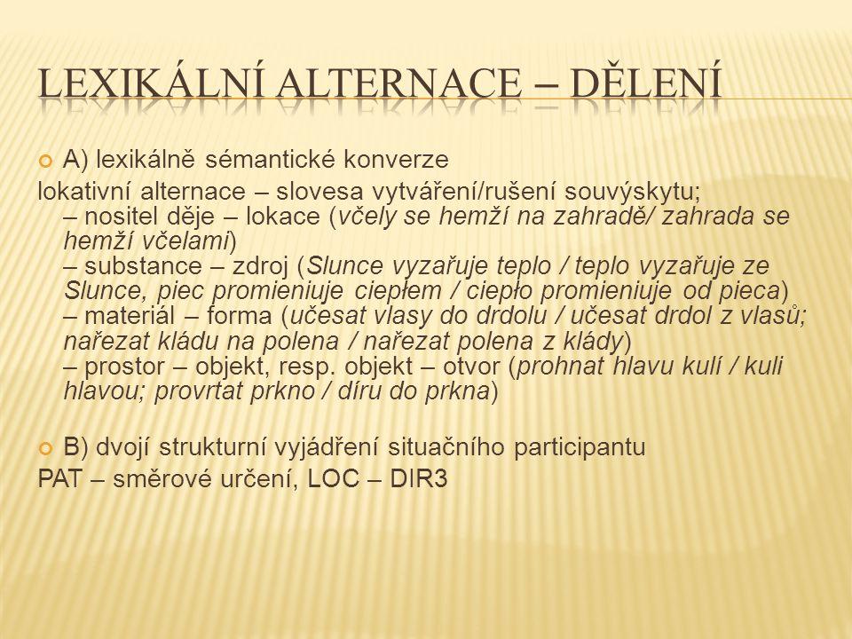 C) strukturní rozpad situačního participantu rozpad tématu a dikta slovanský akuzativ